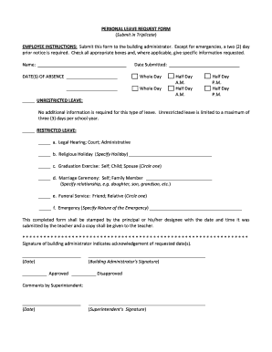 Editable leave application for school for marriage - Fill