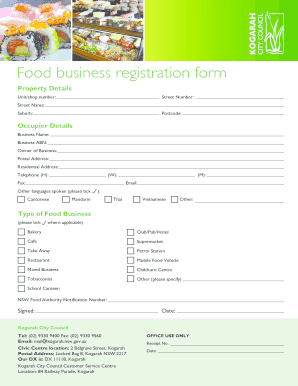 Food Business Registration Form Pdf   Kogarahnswgovau