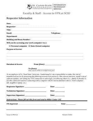 Fillable Online VPN Request Form - HuskyNet - St. Cloud State ...