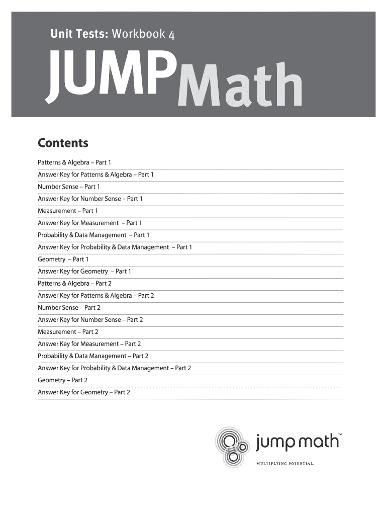 Fillable Online Unit Tests Workbook 4, Part I - JUMP Math Fax Email