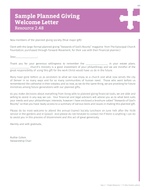 fill online - Sample Planned Giving Letters