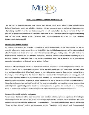 Fillable Online medex org NOTES FOR TREKKING TEAM MEDICAL OFFICERS