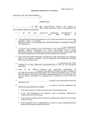 BAC Form C 2 OMNIBUS SWORN STATEMENT AFFIDAVIT   Hgc Gov