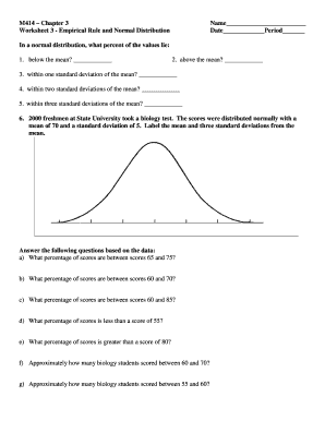 Fillable Online M414 Chapter 3 Worksheet 3 Empirical Rule and Normal ...
