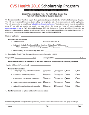 Student Recommendation Form For High School Seniors Only