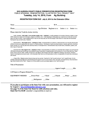 2015 AURORA COUNTY PUBLIC PRESENTATION REGISTRATION FORM