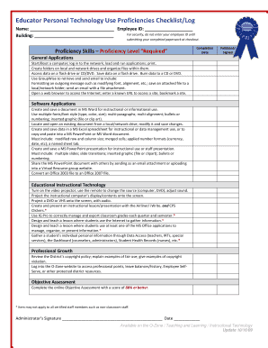 ODS Educator Personal Technology Proficiencies Checklist