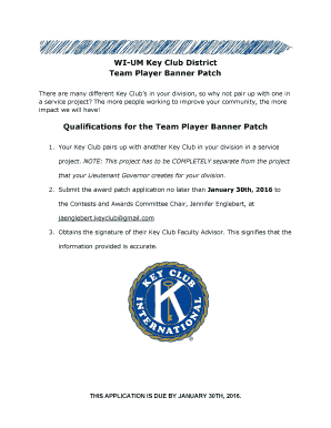 """Team Player"" Banner Patch Application - WIUM Key Club"