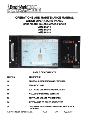 fillable online touch screen panel for logging user manual - benchmark  wireline fax email print - pdffiller