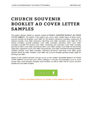 Church Souvenir Booklet Ad Cover Letter Samples - eBooks Archive