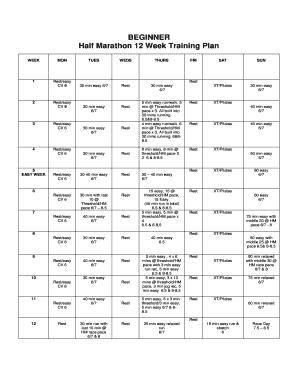 12 week half marathon training beginner  edit print