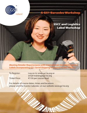 Fillable Online A GS1 Barcodes Workshop SSCC and Logistics