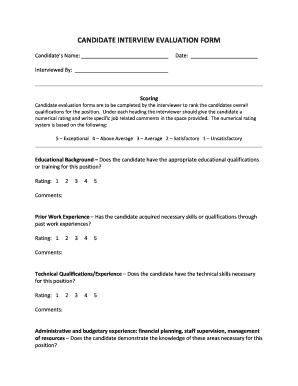 interview assessment form template
