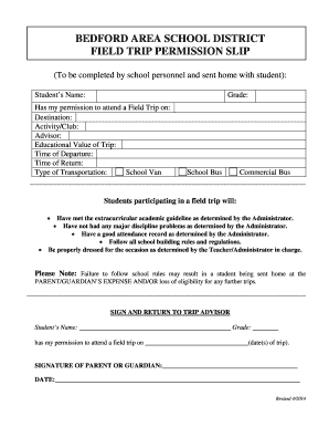 permission slip for field trip template