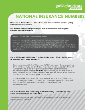 Print National Insurance Number >> Fillable Online National Insurance Numbers Guild Of