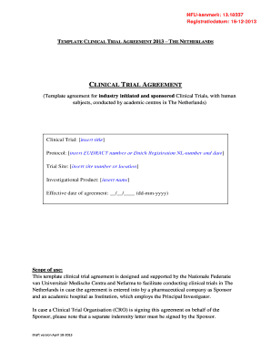 Fillable What Is A Clinical Trial Agreement Edit Online Download