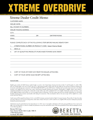 Xtreme Dealer Credit Memo - Beretta Dealer Portal