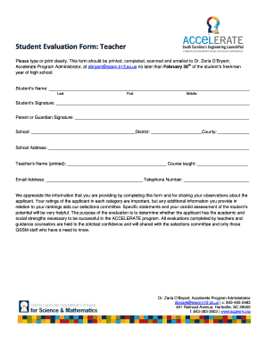 Student Evaluation Form Teacher