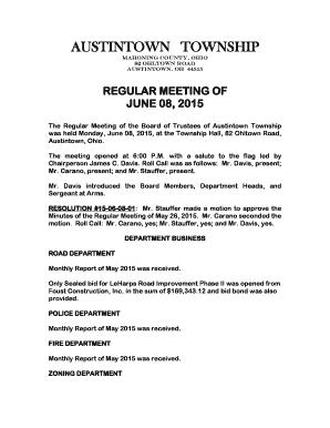 Fillable Online June 8 - Austintown Township Fax Email Print - PDFfiller