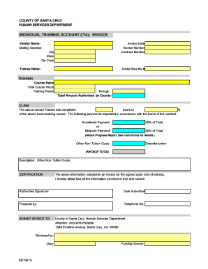 ITA Invoice Template 09 - Human Services Department