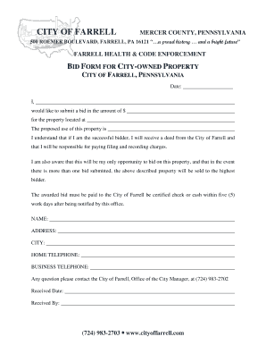 BID FORM FOR CITY OWNED P CITY OF FARRELL PENNSYLVANIA  Bid Proposal Forms