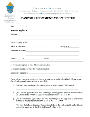 General letter of recommendation forms and templates fillable pastor recommendation letter diocese of bridgeport catholic schools expocarfo Choice Image