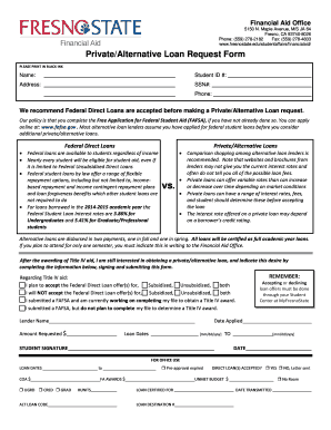 PrivateAlternative Loan BRequestb Form