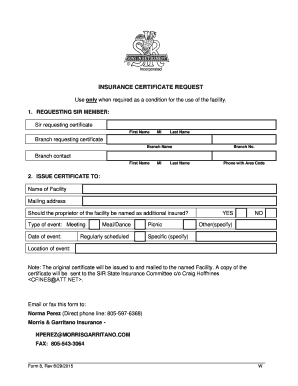 Fillable letter requesting certificate of insurance - Edit ...