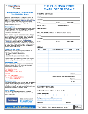 Fillable Online THE FLIGHTSIM STORE MAIL ORDER FORM Fax Email Print