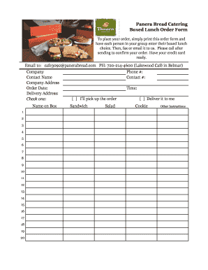Fill Online  sc 1 st  PDF Filler & Fillable Online Panera Bread Catering Boxed Lunch Order Form To ... Aboutintivar.Com
