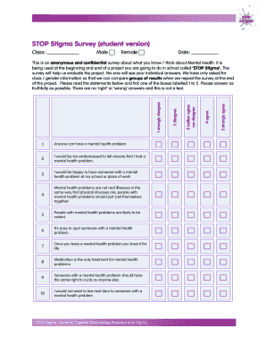 Stop Stigma Survey Fill Out Online Forms Templates Download In