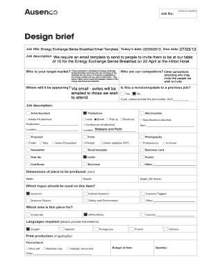 Fillable Online Design Brief Ausenco Fax Email Print Pdffiller
