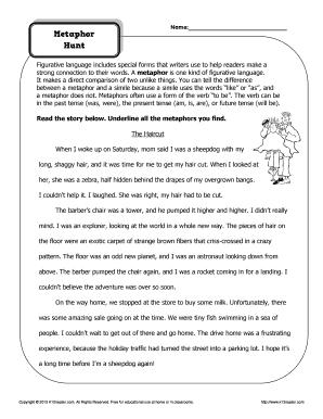 fillable online metaphor hunt figurative language worksheets k12 reader fax email print. Black Bedroom Furniture Sets. Home Design Ideas