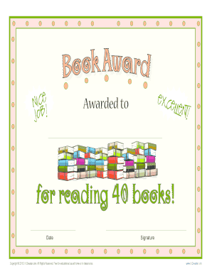 fillable online printable reading award certificate 40 book award