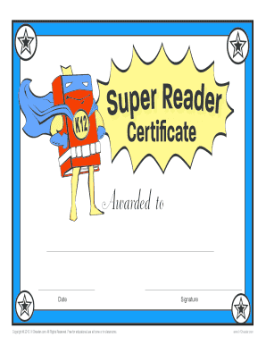 photograph relating to Free Printable Reading Certificates known as Fillable On-line Printable Looking at Award Certification - Tremendous