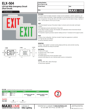 ELX504 Catalog Number: ELX504GW LED Exit With Emergency Circuit (Dual Circuit) Architectural Project Name: Type: Note: FEATURES This fixture meets the highest standards of simple and fast installation, aesthetic appearance, and economical