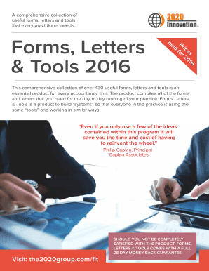 Forms, Letters & Tools 2016 - 2020 Innovation