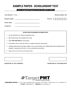 free scholarship practice tests pdf