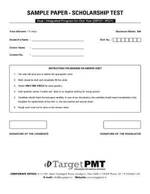 Target Pmt Scholarship Test Sample Paper - Fill Online, Printable ...