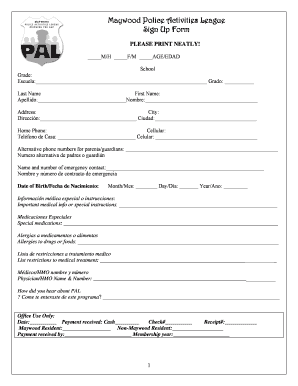 fillable online maywood police activities league sign up form fax