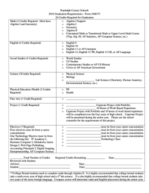 Fillable Online boe rand k12 wv 2016-Graduation Checklist