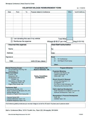 5 Printable mileage reimbursement form 2016 Templates ...