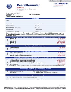 Download Bestellformular - Liwest Fill Online, Printable, Fillable ...