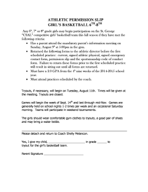 Athletic permission slip girl's basketball 6th -8 - St. George School