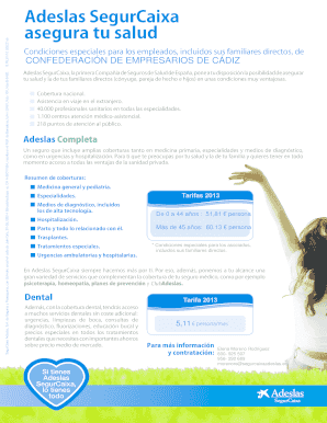 Fillable Online Adeslas Segurcaixa Asegura Tu Salud Fedecocom Fax