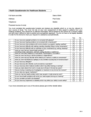 health questionnaire for students fillable forms templates to