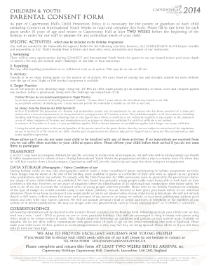 Fillable Online capernwray Parental consent form