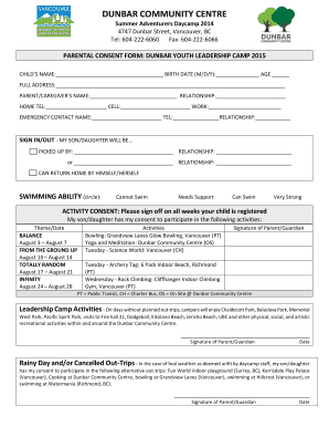 Get parental consent form for youth camp Samples to Fill