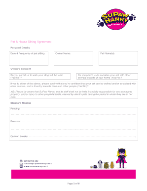 Printable pet sitting consent form edit fill out download pet house sitting agreement platinumwayz