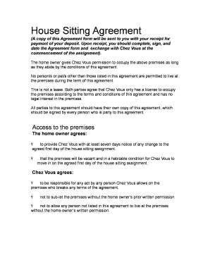 Fillable online house sitting agreement fax email print pdffiller fill online platinumwayz